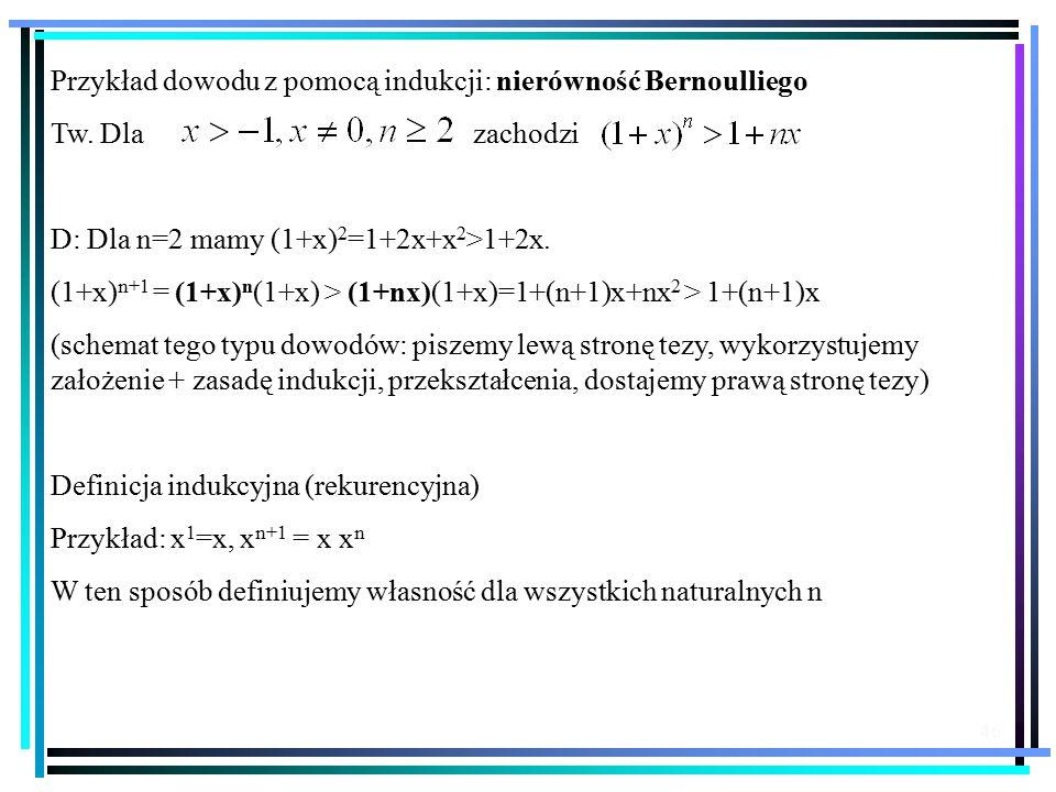 46 Przykład dowodu z pomocą indukcji: nierówność Bernoulliego Tw.