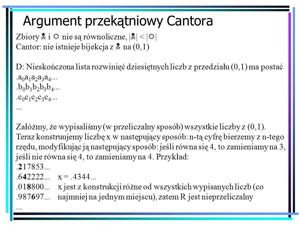 57 Argument przekątniowy Cantora Zbiory N i R nie są równoliczne, | N | < | R | Cantor: nie istnieje bijekcja z N na (0,1) D: Nieskończona lista rozwinięć dziesiętnych liczb z przedziału (0,1) ma postać.a 0 a 1 a 2 a 3 a 4....b 0 b 1 b 2 b 3 b 4....c 0 c 1 c 2 c 3 c 4......