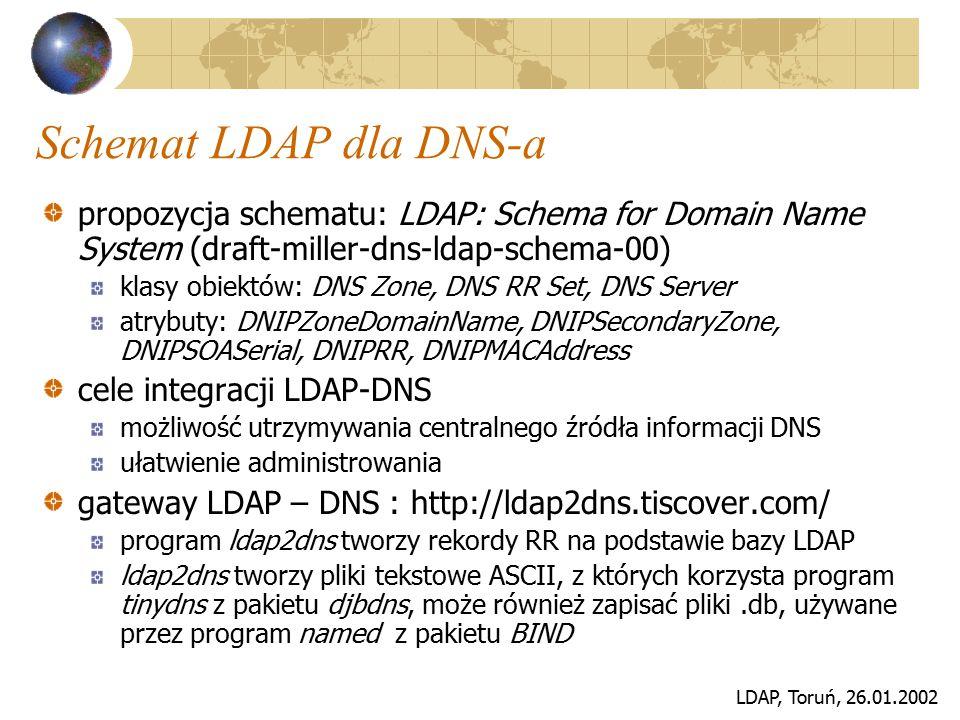 LDAP, Toruń, 26.01.2002 Schemat LDAP dla DNS-a propozycja schematu: LDAP: Schema for Domain Name System (draft-miller-dns-ldap-schema-00) klasy obiekt