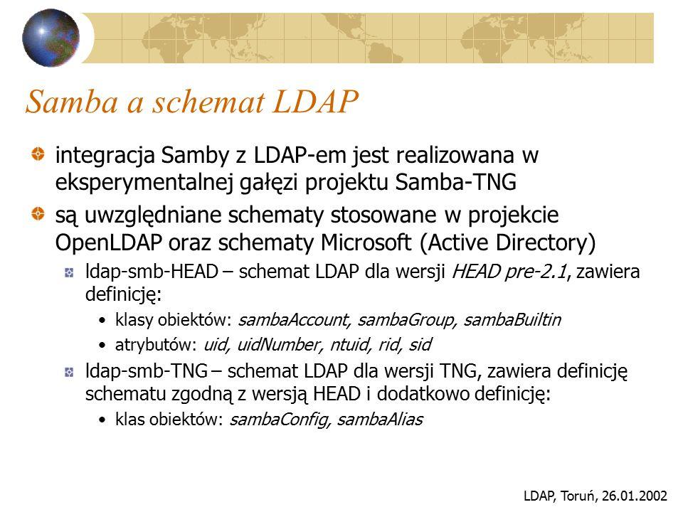 LDAP, Toruń, 26.01.2002 Samba a schemat LDAP integracja Samby z LDAP-em jest realizowana w eksperymentalnej gałęzi projektu Samba-TNG są uwzględniane