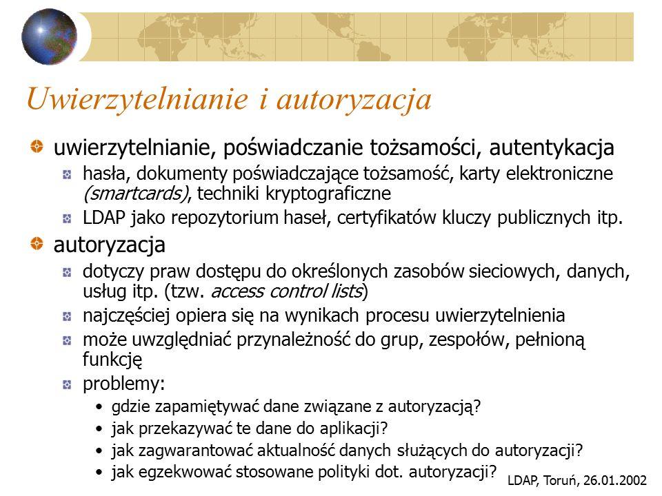 LDAP, Toruń, 26.01.2002 Uwierzytelnianie i autoryzacja uwierzytelnianie, poświadczanie tożsamości, autentykacja hasła, dokumenty poświadczające tożsam