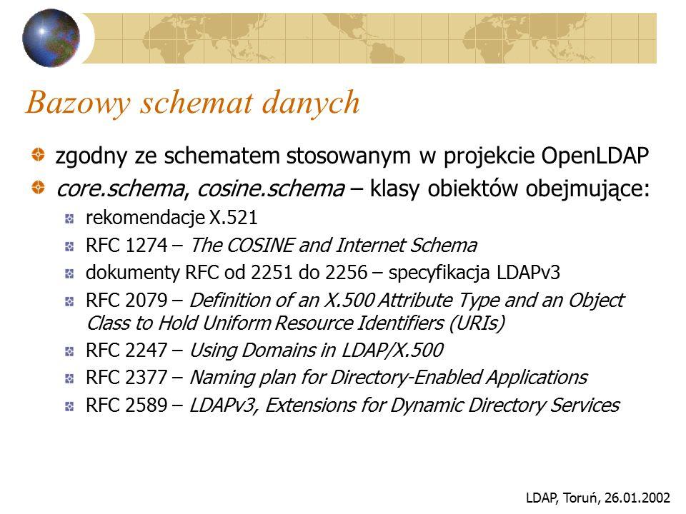 LDAP, Toruń, 26.01.2002 Bazowy schemat danych zgodny ze schematem stosowanym w projekcie OpenLDAP core.schema, cosine.schema – klasy obiektów obejmują