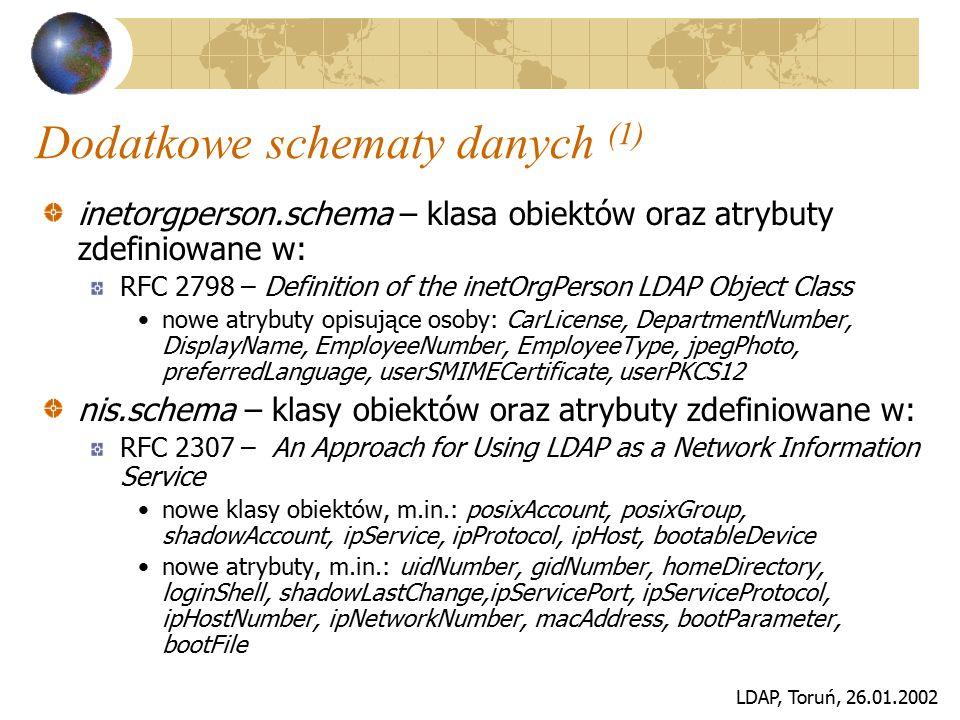 LDAP, Toruń, 26.01.2002 Dodatkowe schematy danych (2) misc.schema – klasa obiektów oraz atrybuty zdefiniowane w: Internet-Draft – LDAP Schema for Internet Mail Routing (draft-lachman-laser-ldap-mail-routing-02.txt) np.