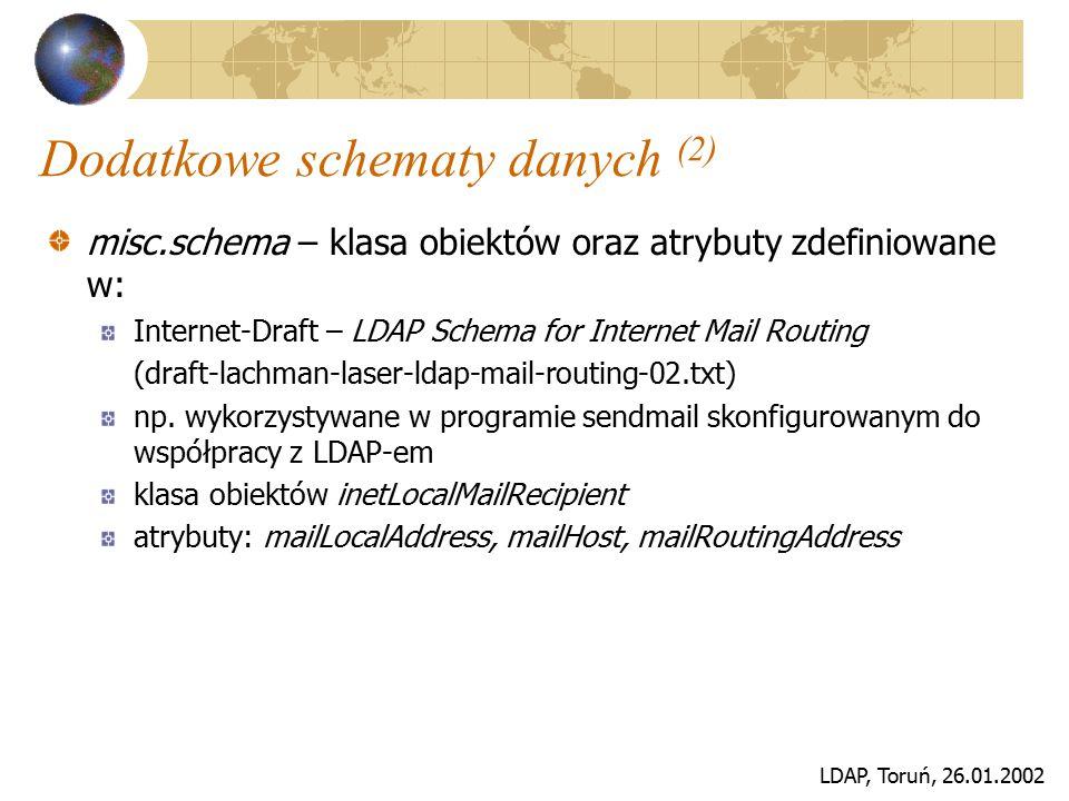 LDAP, Toruń, 26.01.2002 Rozszerzenia specjalizowane schemat rozszerzający możliwości współpracy programu sendmail z LDAP-em, sendmail.schema klasy obiektów: sendmailMTA, sendmailMTAMap, sendmailMTAMapObject, sendmailMTAAlias, sendmailMTAAliasObject, sendmailMTAClass atrybuty: sendmailMTAHost, sendmailMTACluster, sendmailMTAKey, sendmailMTAMapName, sendmailMTAMapValue, sendmailMTAAliasGrouping, sendmailMTAAliasValue, sendmailMTAClassName, sendmailMTAClassValue