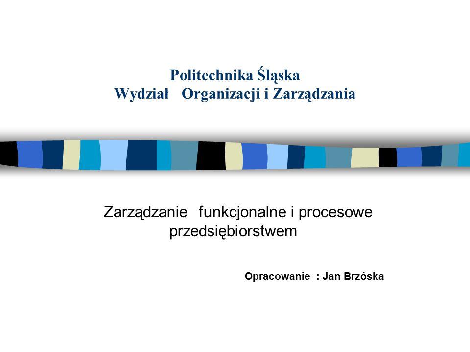 Politechnika Śląska Wydział Organizacji i Zarządzania Zarządzanie funkcjonalne i procesowe przedsiębiorstwem Opracowanie : Jan Brzóska