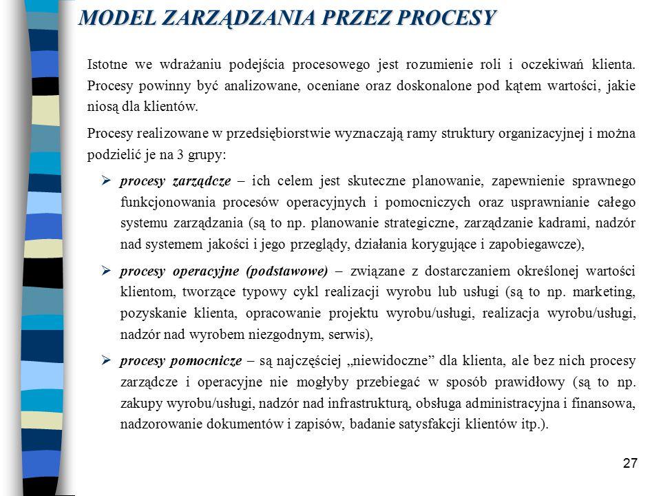 27 Istotne we wdrażaniu podejścia procesowego jest rozumienie roli i oczekiwań klienta.