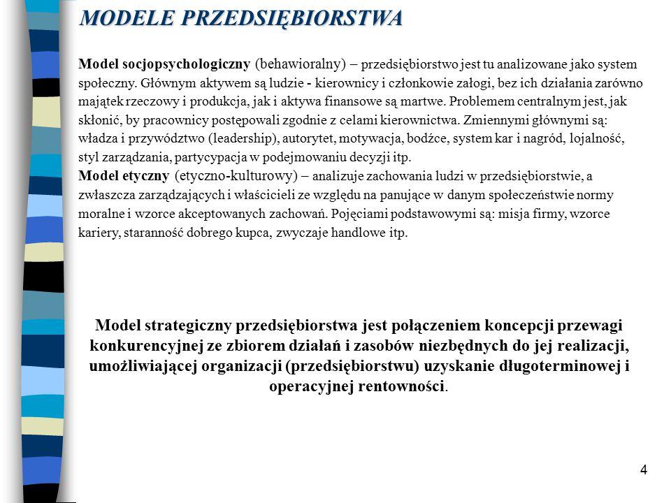 4 Model socjopsychologiczny (behawioralny) – przedsiębiorstwo jest tu analizowane jako system społeczny.