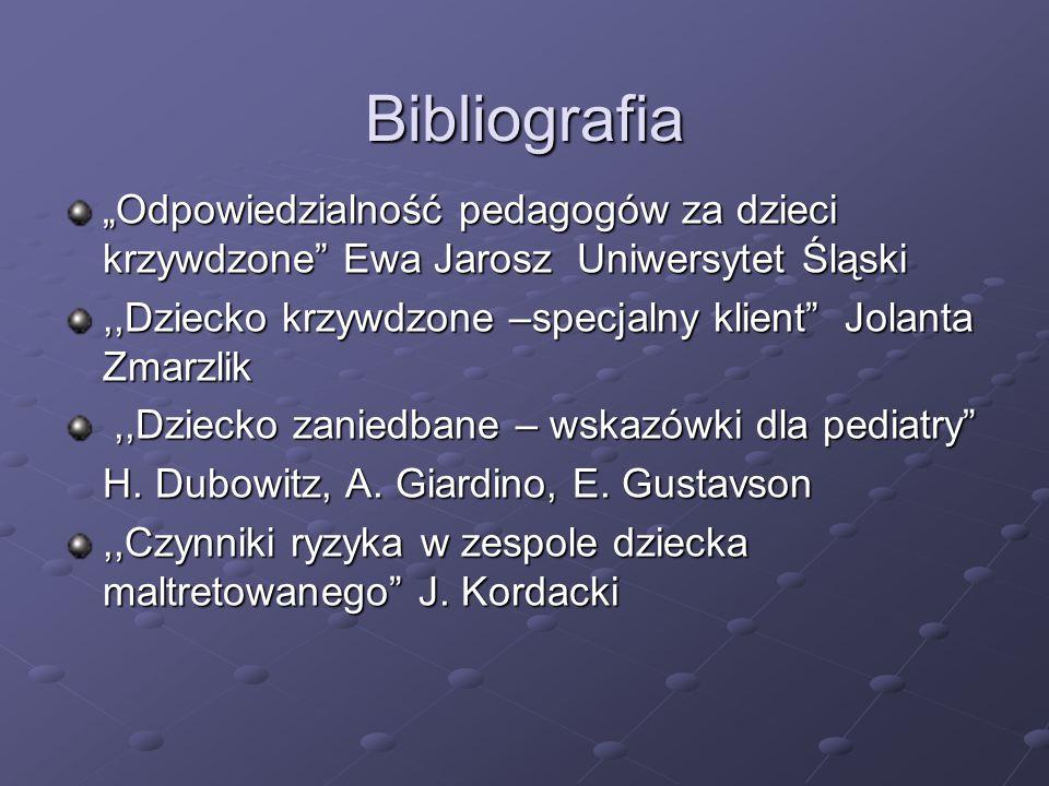 """Bibliografia """"Odpowiedzialność pedagogów za dzieci krzywdzone"""" Ewa Jarosz Uniwersytet Śląski,,Dziecko krzywdzone –specjalny klient"""" Jolanta Zmarzlik,,"""