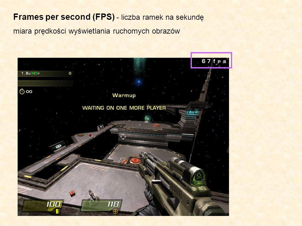 Frames per second (FPS) - liczba ramek na sekundę miara prędkości wyświetlania ruchomych obrazów