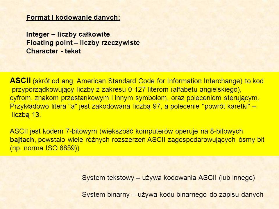 Format i kodowanie danych: Integer – liczby całkowite Floating point – liczby rzeczywiste Character - tekst ASCII (skrót od ang. American Standard Cod