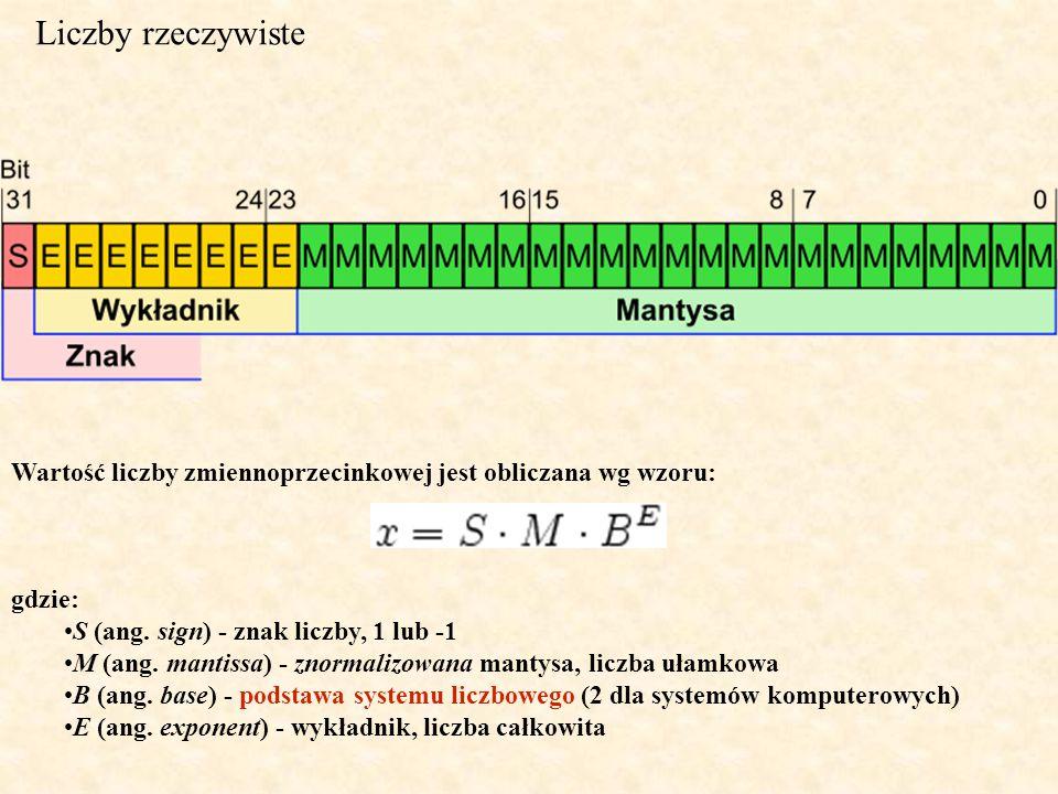 Liczby rzeczywiste Wartość liczby zmiennoprzecinkowej jest obliczana wg wzoru: gdzie: S (ang. sign) - znak liczby, 1 lub -1 M (ang. mantissa) - znorma