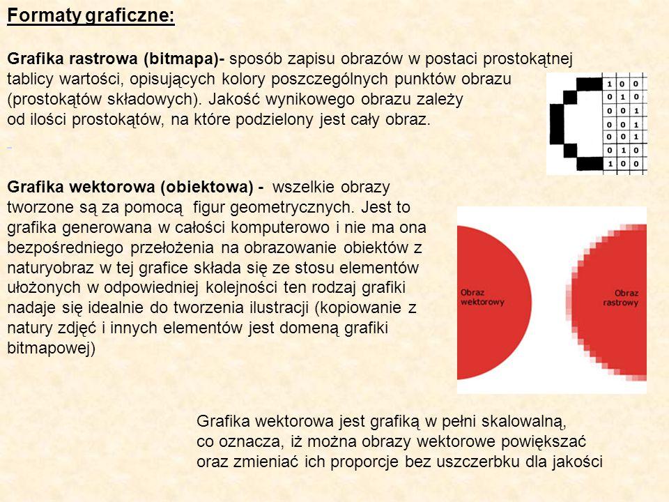 Formaty graficzne: Grafika rastrowa (bitmapa)- sposób zapisu obrazów w postaci prostokątnej tablicy wartości, opisujących kolory poszczególnych punktó