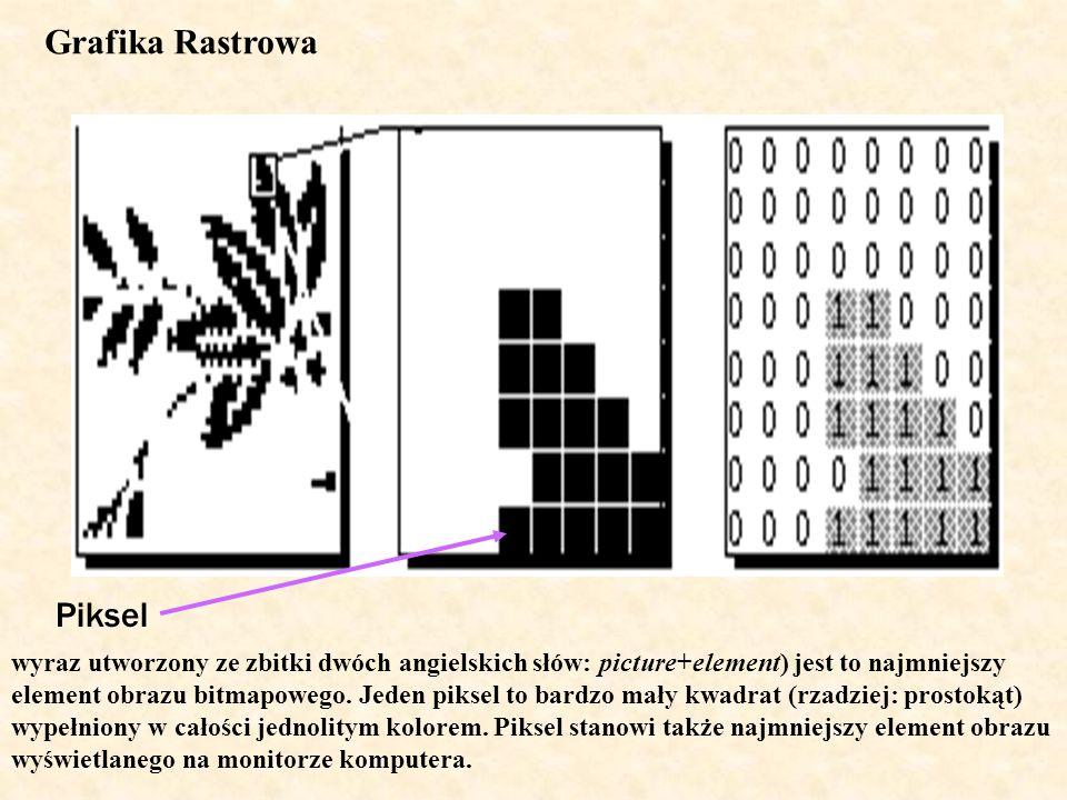 Piksel Grafika Rastrowa wyraz utworzony ze zbitki dwóch angielskich słów: picture+element) jest to najmniejszy element obrazu bitmapowego. Jeden pikse