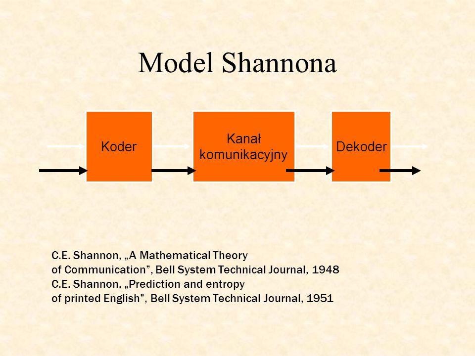 "Model Shannona Kanał komunikacyjny KoderDekoder C.E. Shannon, ""A Mathematical Theory of Communication"", Bell System Technical Journal, 1948 C.E. Shann"