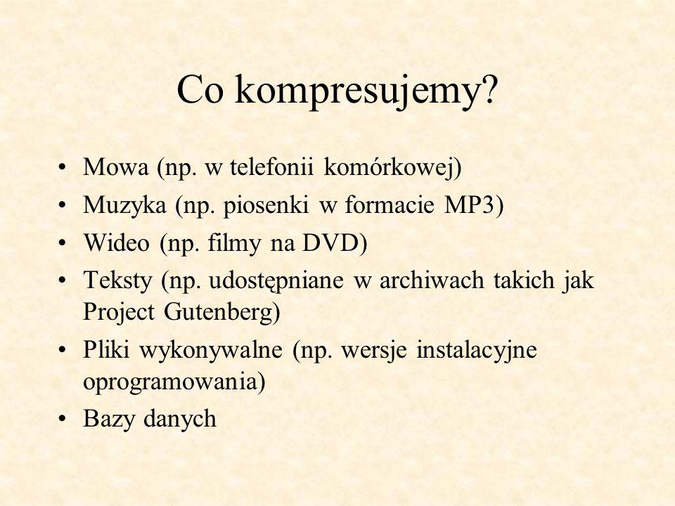 Co kompresujemy? Mowa (np. w telefonii komórkowej) Muzyka (np. piosenki w formacie MP3) Wideo (np. filmy na DVD) Teksty (np. udostępniane w archiwach