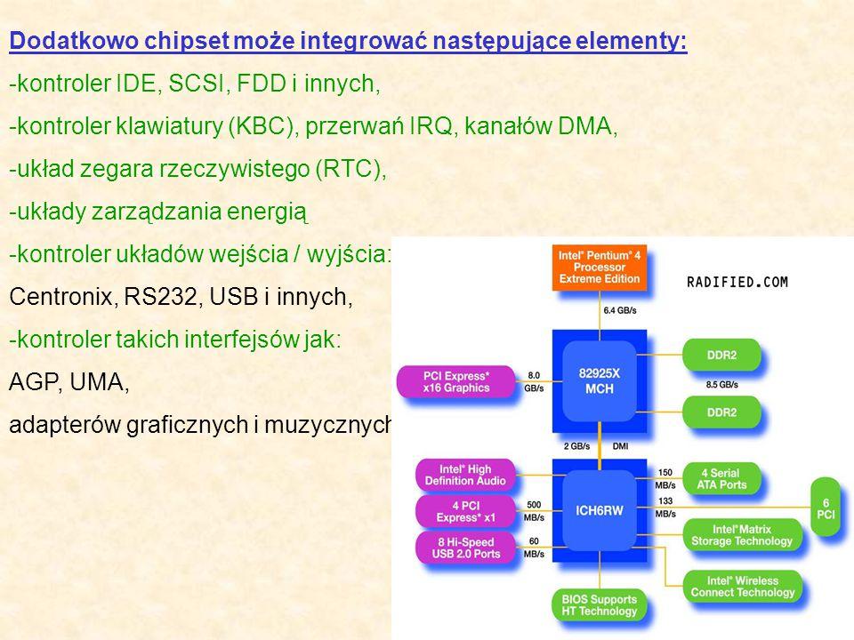 Dodatkowo chipset może integrować następujące elementy: -kontroler IDE, SCSI, FDD i innych, -kontroler klawiatury (KBC), przerwań IRQ, kanałów DMA, -u