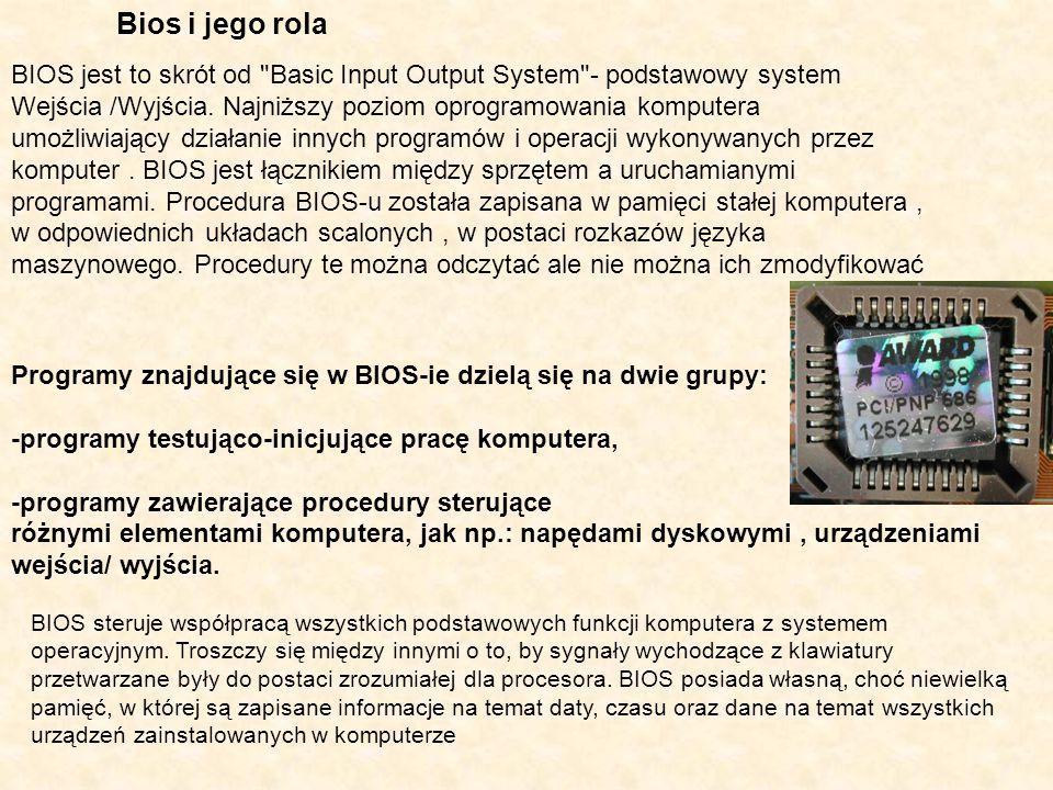 Bios i jego rola BIOS jest to skrót od