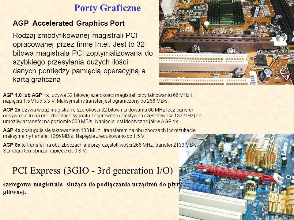 AGP Accelerated Graphics Port Rodzaj zmodyfikowanej magistrali PCI opracowanej przez firmę Intel. Jest to 32- bitowa magistrala PCI zoptymalizowana do
