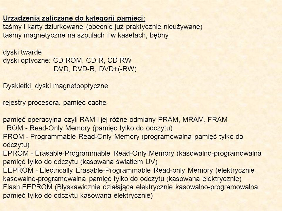 Urządzenia zaliczane do kategorii pamięci: taśmy i karty dziurkowane (obecnie już praktycznie nieużywane) taśmy magnetyczne na szpulach i w kasetach,