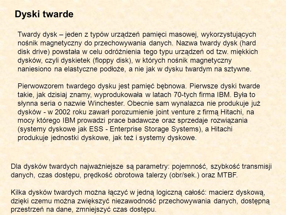 Dyski twarde Twardy dysk – jeden z typów urządzeń pamięci masowej, wykorzystujących nośnik magnetyczny do przechowywania danych. Nazwa twardy dysk (ha