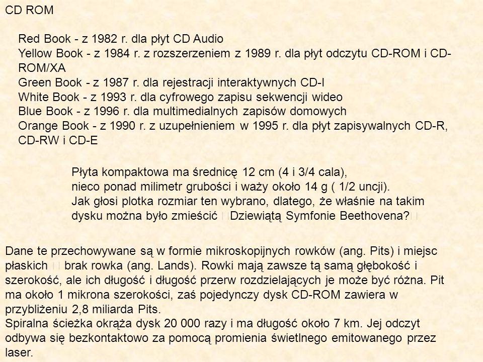 CD ROM Red Book - z 1982 r. dla płyt CD Audio Yellow Book - z 1984 r. z rozszerzeniem z 1989 r. dla płyt odczytu CD-ROM i CD- ROM/XA Green Book - z 19