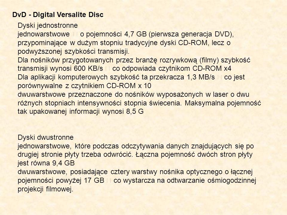 DvD - Digital Versalite Disc Dyski jednostronne jednowarstwowe – o pojemności 4,7 GB (pierwsza generacja DVD), przypominające w dużym stopniu tradycyj