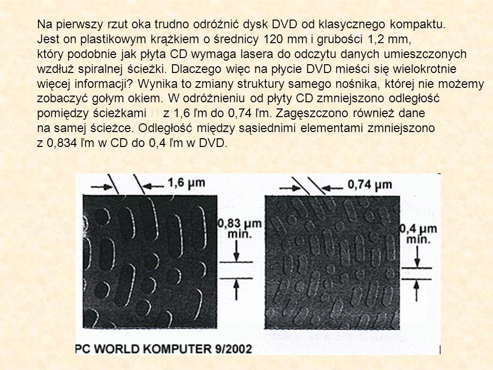 Na pierwszy rzut oka trudno odróżnić dysk DVD od klasycznego kompaktu. Jest on plastikowym krążkiem o średnicy 120 mm i grubości 1,2 mm, który podobni