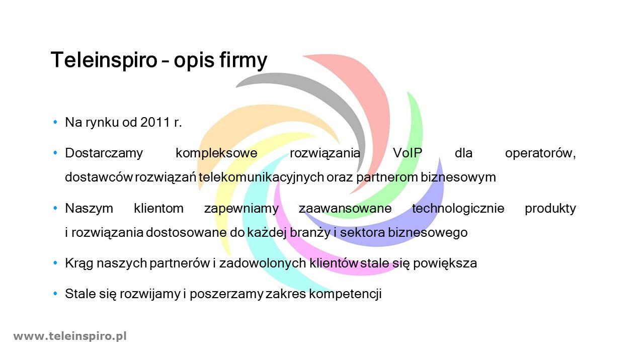 www.teleinspiro.pl Teleinspiro – opis firmy Na rynku od 2011 r. Dostarczamy kompleksowe rozwiązania VoIP dla operatorów, dostawców rozwiązań telekomun
