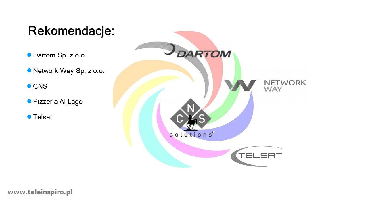 www.teleinspiro.pl Rekomendacje: Dartom Sp. z o.o. Network Way Sp. z o.o. CNS Pizzeria Al Lago Telsat