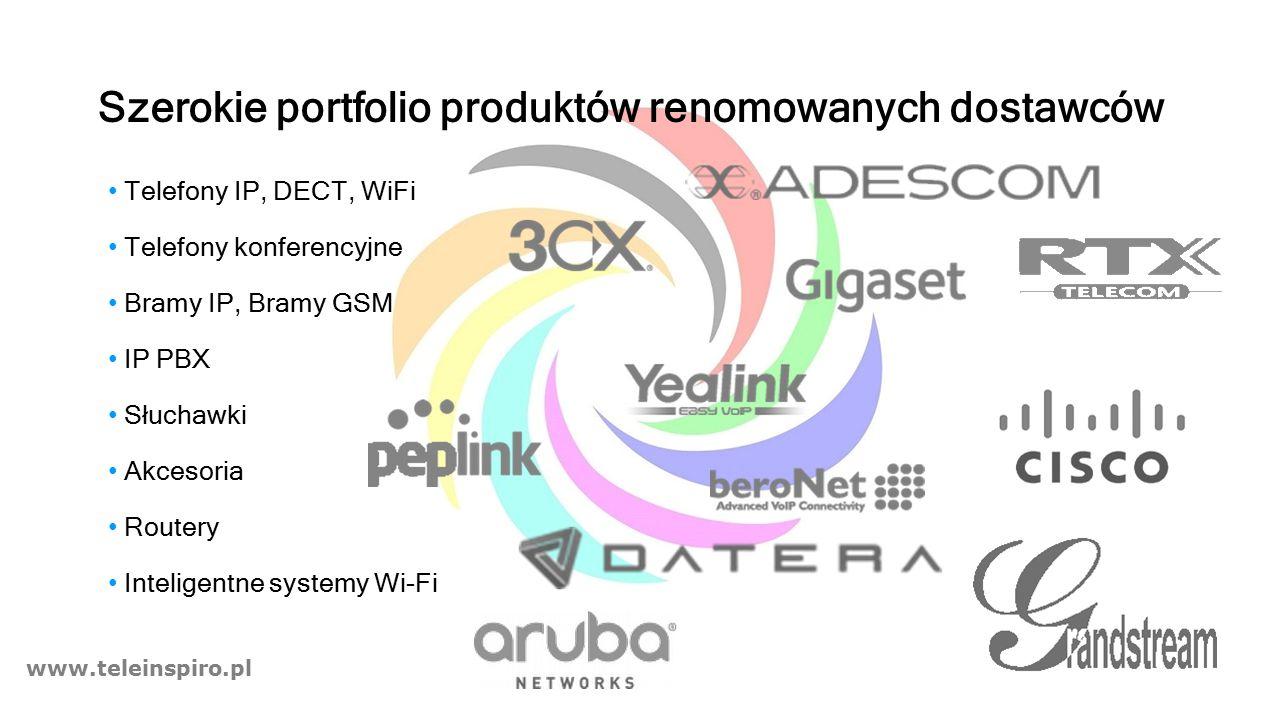 www.teleinspiro.pl Szerokie portfolio produktów renomowanych dostawców Telefony IP, DECT, WiFi Telefony konferencyjne Bramy IP, Bramy GSM IP PBX Słuchawki Akcesoria Routery Inteligentne systemy Wi-Fi