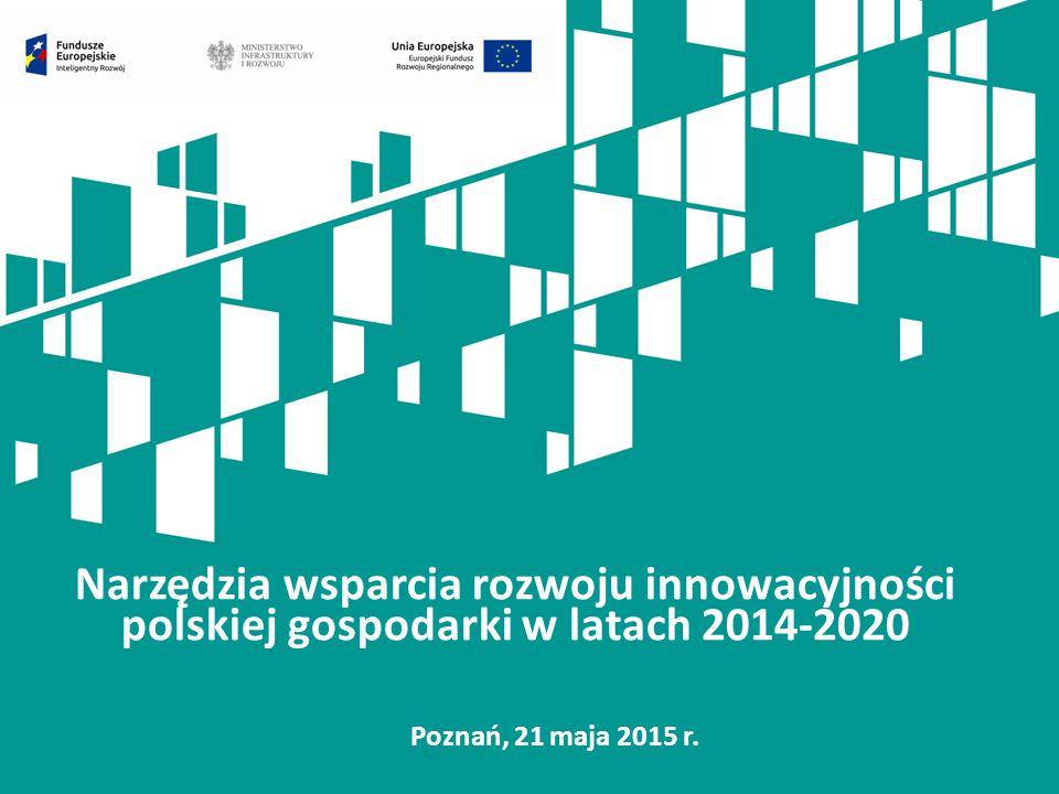 Narzędzia wsparcia rozwoju innowacyjności polskiej gospodarki w latach 2014-2020 Poznań, 21 maja 2015 r.