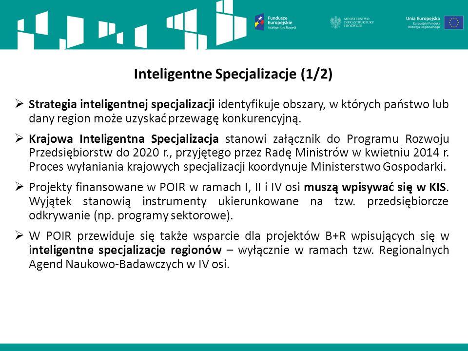 Inteligentne Specjalizacje (1/2)  Strategia inteligentnej specjalizacji identyfikuje obszary, w których państwo lub dany region może uzyskać przewagę