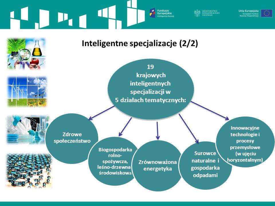 Inteligentne specjalizacje (2/2) Zdrowe społeczeństwo Biogospodarka rolno- spożywcza, leśno-drzewna i środowiskow a Zrównoważona energetyka Surowce na