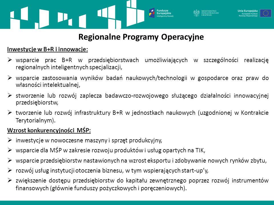 Regionalne Programy Operacyjne Inwestycje w B+R i innowacje:  wsparcie prac B+R w przedsiębiorstwach umożliwiających w szczególności realizację regio