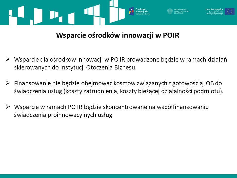 I oś – Wsparcie prowadzenie prac B+R przez przedsiębiorstwa (1/2) Wsparcie ośrodków innowacji w POIR  Wsparcie dla ośrodków innowacji w PO IR prowadz