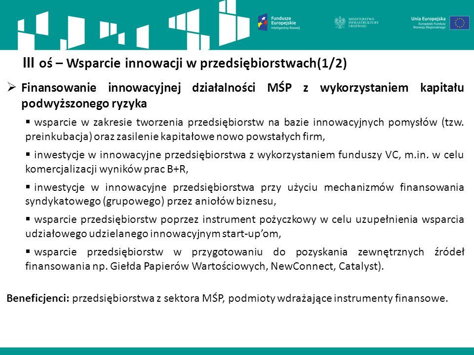  Finansowanie innowacyjnej działalności MŚP z wykorzystaniem kapitału podwyższonego ryzyka  wsparcie w zakresie tworzenia przedsiębiorstw na bazie i