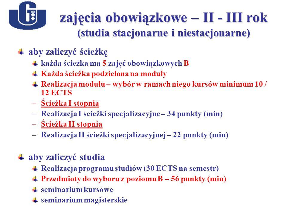 zajęcia obowiązkowe – II - III rok (studia stacjonarne i niestacjonarne) aby zaliczyć ścieżkę każda ścieżka ma 5 zajęć obowiązkowych B Każda ścieżka podzielona na moduły Realizacja modułu – wybór w ramach niego kursów minimum 10 / 12 ECTS –Ścieżka I stopnia –Realizacja I ścieżki specjalizacyjne – 34 punkty (min)) –Ścieżka II stopnia –Realizacja II ścieżki specjalizacyjnej – 22 punkty (min) aby zaliczyć studia Realizacja programu studiów (30 ECTS na semestr) Przedmioty do wyboru z poziomu B – 56 punkty (min) seminarium kursowe seminarium magisterskie