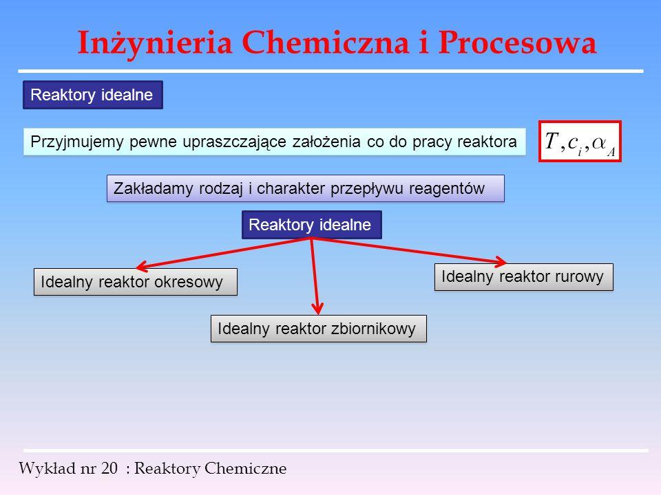 Inżynieria Chemiczna i Procesowa Wykład nr 20 : Reaktory Chemiczne Reaktory idealne Przyjmujemy pewne upraszczające założenia co do pracy reaktora Zak