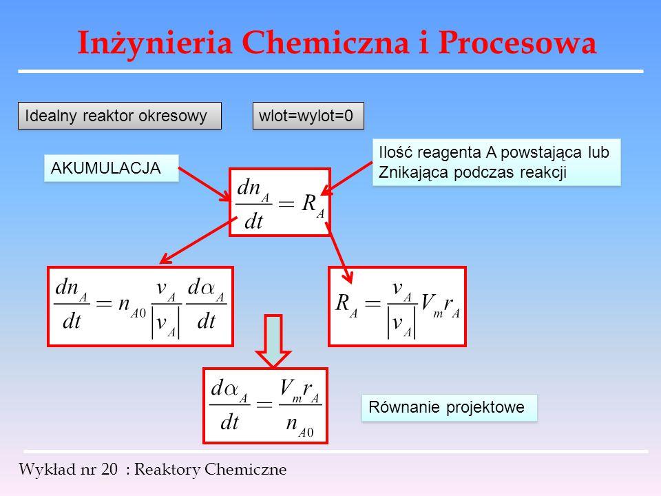 Inżynieria Chemiczna i Procesowa Wykład nr 20 : Reaktory Chemiczne Idealny reaktor okresowy wlot=wylot=0 Ilość reagenta A powstająca lub Znikająca pod
