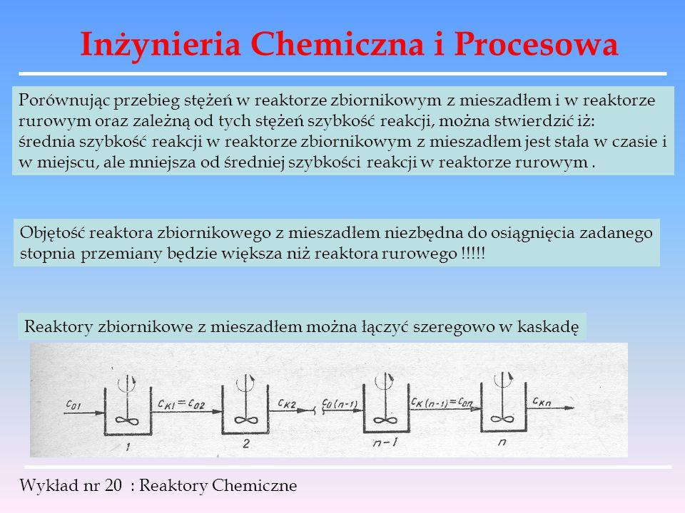 Inżynieria Chemiczna i Procesowa Wykład nr 20 : Reaktory Chemiczne Porównując przebieg stężeń w reaktorze zbiornikowym z mieszadłem i w reaktorze ruro