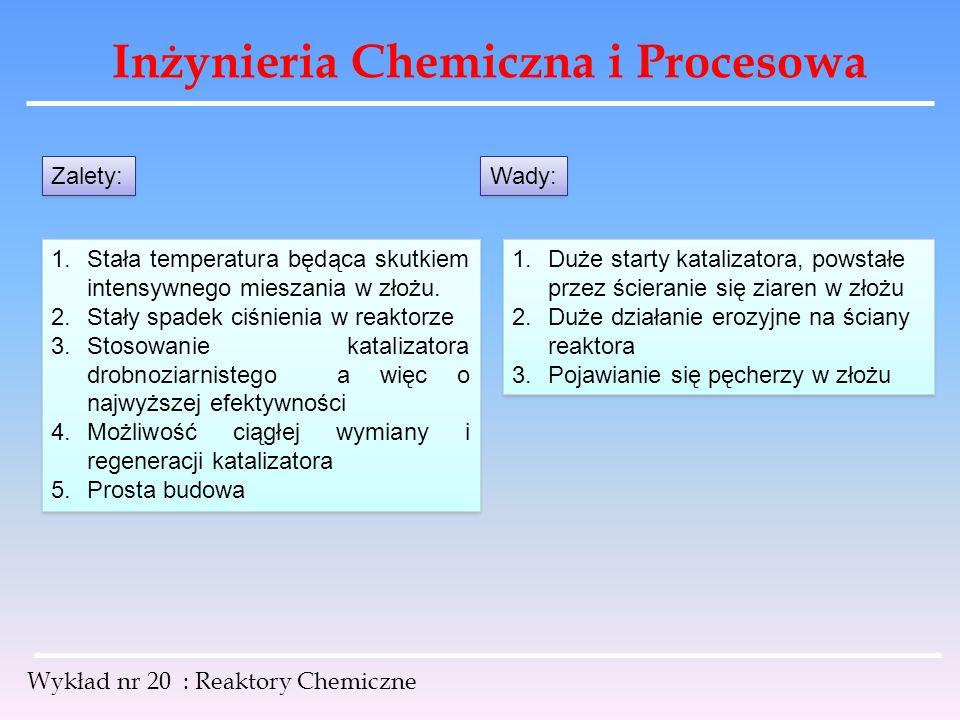 Inżynieria Chemiczna i Procesowa Wykład nr 20 : Reaktory Chemiczne Zalety: 1.Stała temperatura będąca skutkiem intensywnego mieszania w złożu. 2.Stały