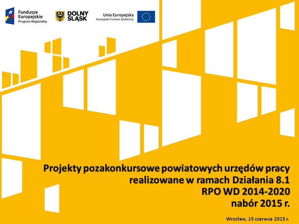 Kliknij, aby dodać tytuł prezentacji Rola Dolnośląskiego Wojewódzkiego Urzędu Pracy we wdrażaniu Europejskiego Funduszu Społecznego w ramach perspektywy finansowej 2007-2013 oraz 2014-2020 Projekty pozakonkursowe powiatowych urzędów pracy realizowane w ramach Działania 8.1 RPO WD 2014-2020 nabór 2015 r.
