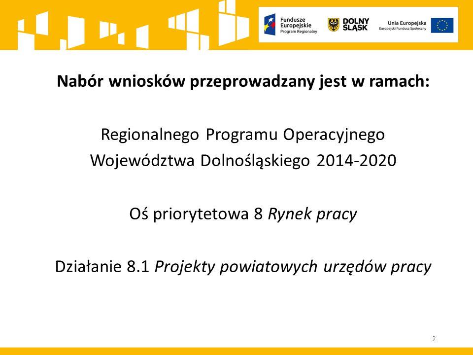 Nabór wniosków przeprowadzany jest w ramach: Regionalnego Programu Operacyjnego Województwa Dolnośląskiego 2014-2020 Oś priorytetowa 8 Rynek pracy Działanie 8.1 Projekty powiatowych urzędów pracy 2