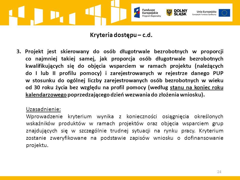 3. Projekt jest skierowany do osób długotrwale bezrobotnych w proporcji co najmniej takiej samej, jak proporcja osób długotrwale bezrobotnych kwalifik