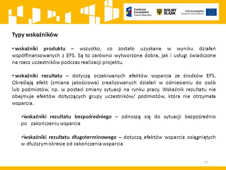 Typy wskaźników wskaźniki produktu – wszystko, co zostało uzyskane w wyniku działań współfinansowanych z EFS.