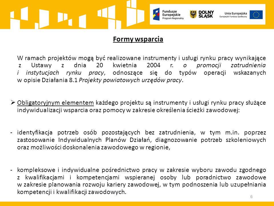 Formy wsparcia W ramach projektów mogą być realizowane instrumenty i usługi rynku pracy wynikające z Ustawy z dnia 20 kwietnia 2004 r.