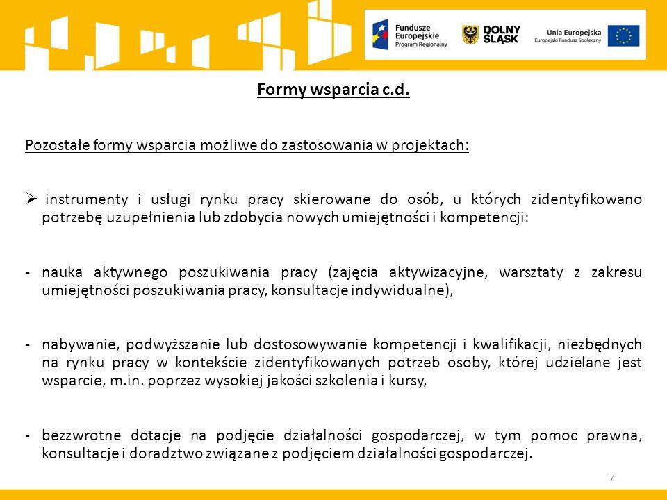 Formy wsparcia c.d. Pozostałe formy wsparcia możliwe do zastosowania w projektach:  instrumenty i usługi rynku pracy skierowane do osób, u których zi