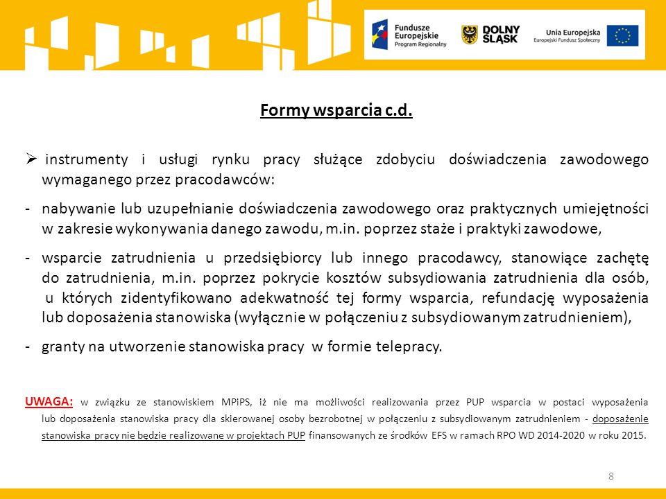 Formy wsparcia c.d.  instrumenty i usługi rynku pracy służące zdobyciu doświadczenia zawodowego wymaganego przez pracodawców: - nabywanie lub uzupełn