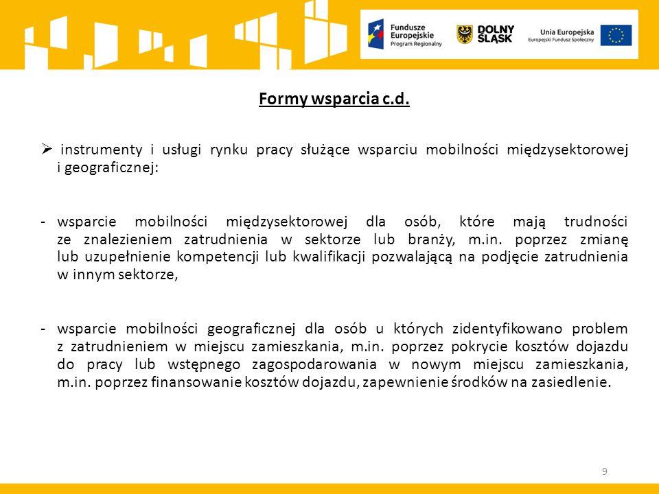 Formy wsparcia c.d.  instrumenty i usługi rynku pracy służące wsparciu mobilności międzysektorowej i geograficznej: -wsparcie mobilności międzysektor
