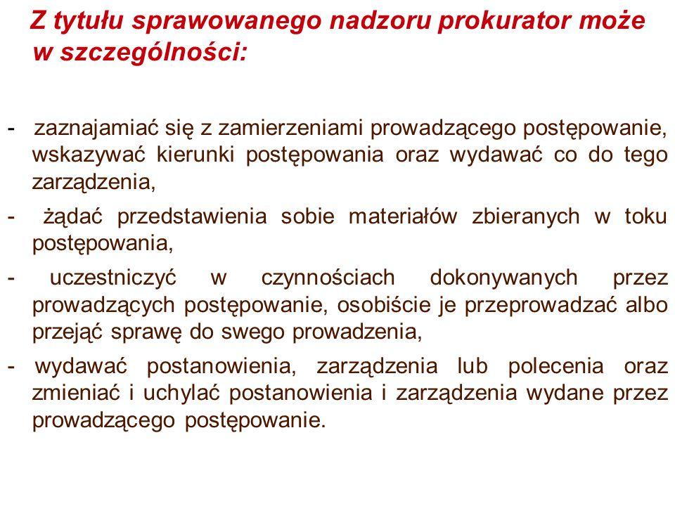 Z tytułu sprawowanego nadzoru prokurator może w szczególności: - zaznajamiać się z zamierzeniami prowadzącego postępowanie, wskazywać kierunki postępo